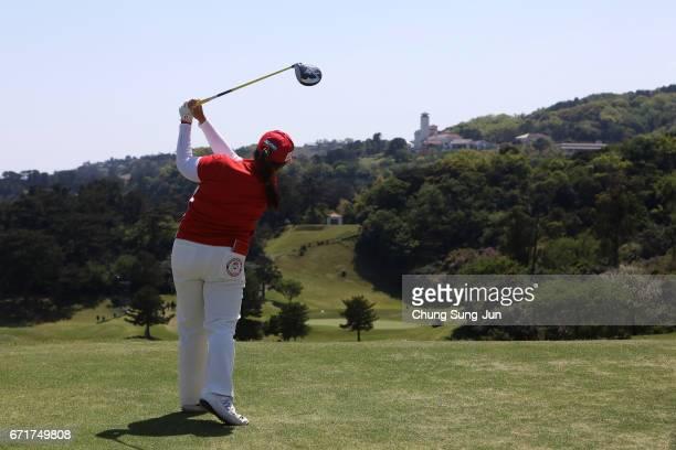SunJu Ahn of South Korea plays a tee shot on the 16th hole during the final round of Fujisankei Ladies Classic at the Kawana Hotel Golf Course Fuji...