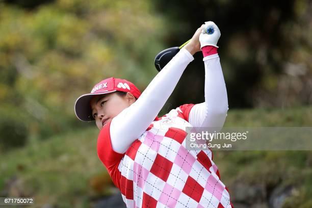 SunJu Ahn of South Korea plays a tee shot on the 3rd hole during the final round of Fujisankei Ladies Classic at the Kawana Hotel Golf Course Fuji...