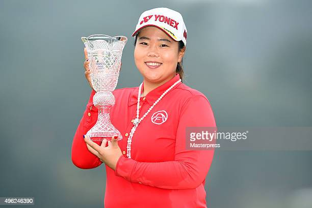 SunJu Ahn of South Korea poses with trophy after winning the TOTO Japan Classics 2015 at the Kintetsu Kashikojima Country Club on November 8 2015 in...