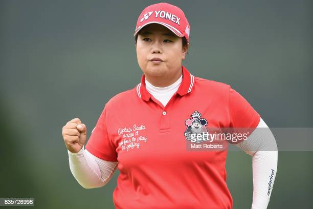 SunJu Ahn of South Korea reacts after her putt on the 18th green during the final round of the CAT Ladies Golf Tournament HAKONE JAPAN 2017 at the...