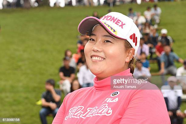 SunJu Ahn of South Korea smiles after winning the Stanley Ladies Golf Tournament at the Tomei Country Club on October 9 2016 in Susono Japan