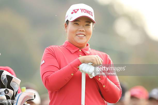 SunJu Ahn of South Korea smiles during the final round of the Daio Paper Elleair Ladies Open 2015 at the Itsuurateien Country Club on November 22...