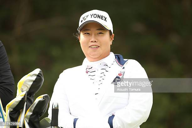 SunJu Ahn of South Korea smiles during the first round of the AXA Ladies Golf Tournament at the UMK Country Club on March 25 2016 in Miyazaki Japan