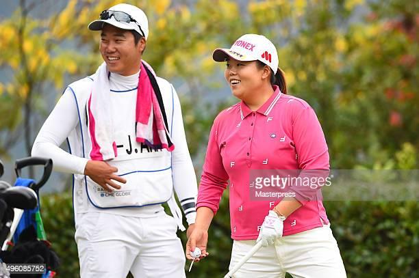 SunJu Ahn of South Korea smiles during the second round of the TOTO Japan Classics 2015 at the Kintetsu Kashikojima Country Club on November 7 2015...
