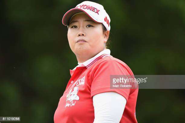 SunJu Ahn of South Korea watches her tee shot on the 7th hole during the final round of the Nipponham Ladies Classics at the Ambix Hakodate Club on...