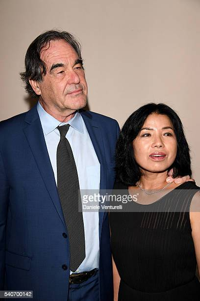 Sunjung Jung and Oliver Stone attend 62 Taormina Film Fest Day 6 on June 16 2016 in Taormina Italy
