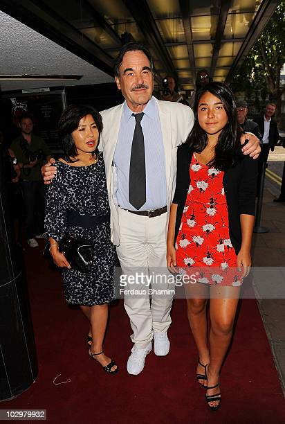 Sunjung Jung Oliver Stone and Tara Chong attends the UK Premiere of South Of The Border at The Curzon Mayfair on July 19 2010 in London England