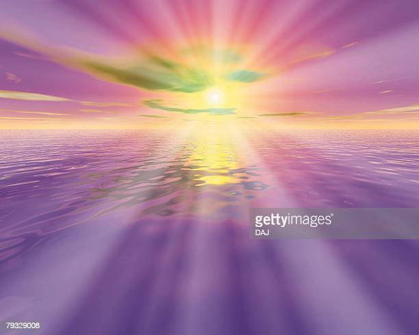 Sunlight and Ocean, CG, 3D, Lens Flare