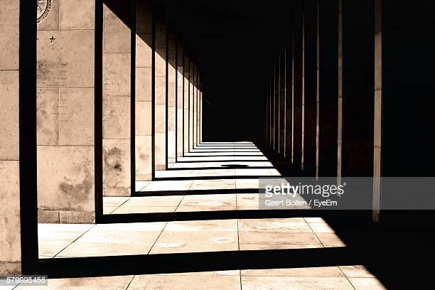 Sunlight And Shadow In Corridor Of Historic Building