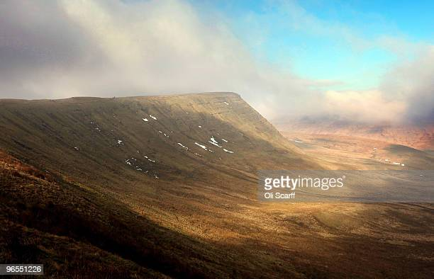 Sunlight breaks through the mist in cold conditions in the Brecon Beacons National Park on February 6 2010 in Brecon Wales The Brecon Beacons in...