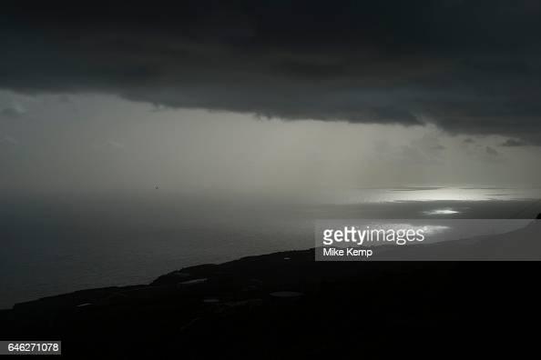 Sunlight dappling the sea at dawn sunrise at San Juan de Puntallana in La Palma Canary Islands Spain La Palma also San Miguel de La Palma is the most...
