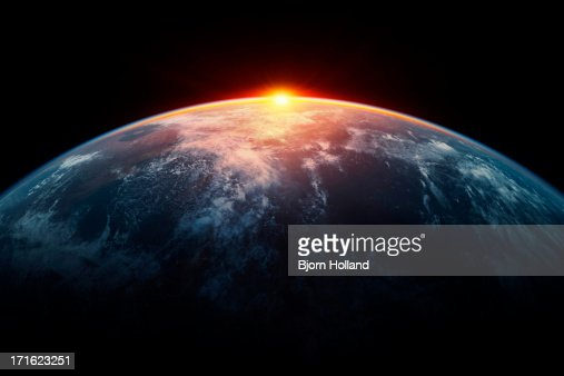 Sunlight eclipsing planet earth