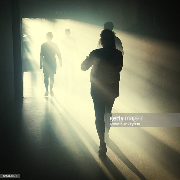 Sunlight falling on silhouetted people in room