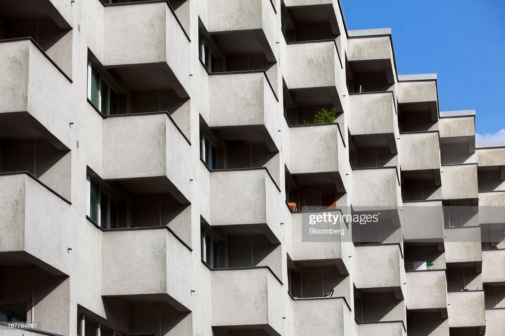 Sunlight falls onto the balconies of a block of residential housing located in the Wedding suburb of Berlin, Germany, on Monday, April 29, 2013. Rents and home prices in Germany's largest cities are rising at the fastest rate in twenty years, according to data compiled by Bulwien Gesa AG. Photographer: Krisztian Bocsi/Bloomberg via Getty Images