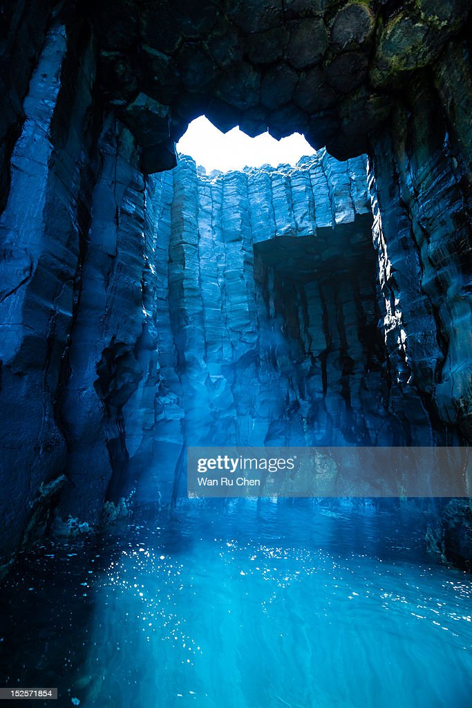 Sunlight in basalt sea cave