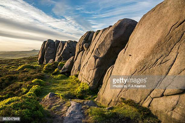 Sunlight on rocks at The Roaches, Staffordshire