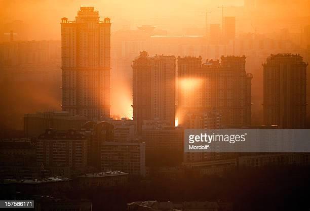 Sonne Reflexion im Sonnenuntergang Stadtansicht
