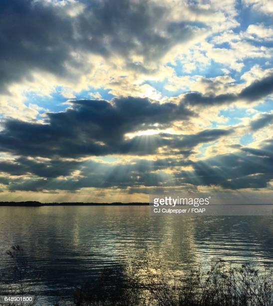 Sunlight through gap in clouds