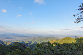 September 23, 2018: Sunlight view of green mountain in Autumn, Liaoning province, Dandong, China.