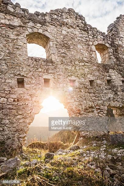 Sunlit doorway of Ehrenberg castle ruins, Reutte, Tyrol, Austria