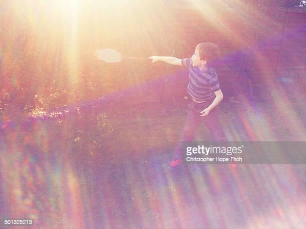 Sunlit garden badminton
