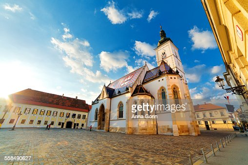 Sunlit St Mark's Church, Zagreb, Croatia