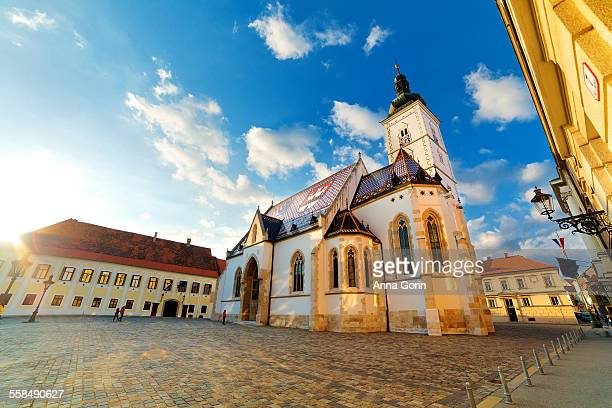 Sunlit St Mark's Church, Zagreb, Croatia