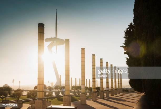 Sunlit view of Montjuic Communications Tower, Olympic stadium, Barcelona, Spain