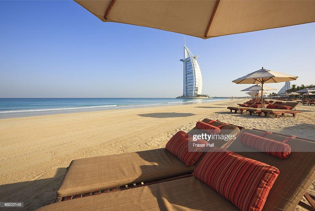 Sunloungers, Jumeirah Beach : Stock Photo