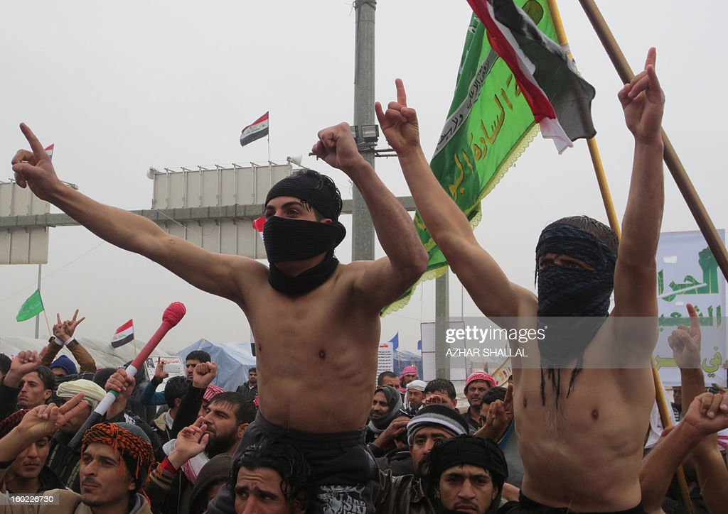 Sunni Muslims protest in the western Iraqi city of Ramadi, on January 28, 2013, calling for their rights. The protests came after lawmakers opposed to Prime Minister Nuri al-Maliki adopted a measure that could bar him from holding office beyond next year after weeks of angry rallies in mostly-Sunni areas against the Shiite premier's rule.