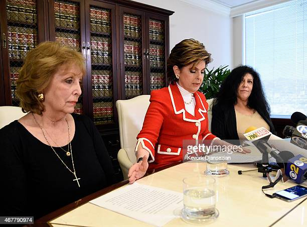 Sunni Wells and Margie Shapiro two alleged victims of comedian Bill Cosby speak during a news conference with attorney Gloria Allred March 27 in Los...
