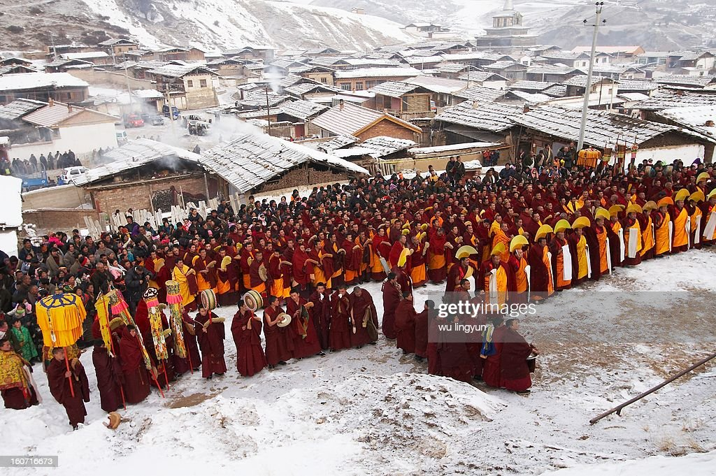 CONTENT] Sunning of the buddha Festival in Aba Tibetan region of Sinchuan .