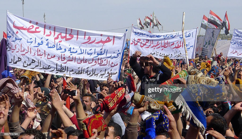 Sunnis in Ramadi, Iraq, protest against the Shiite-led government in Baghdad began at the start of the year and blocks the roadway.