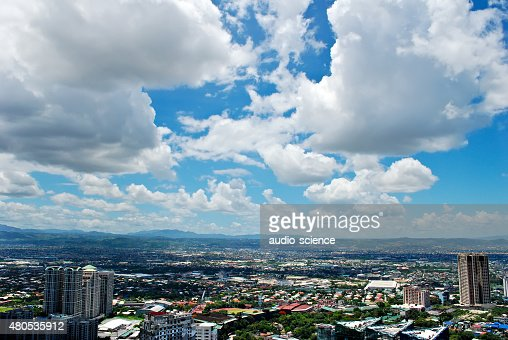 Sunny Aerial City View Panorama : Stock Photo
