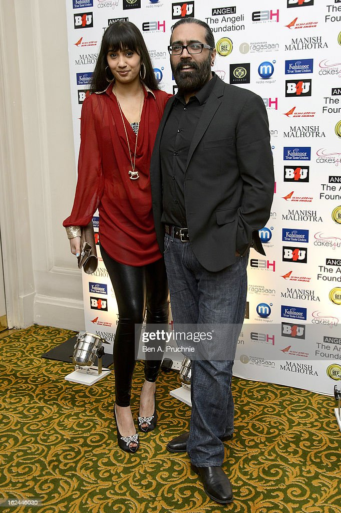Sunny and Shay Grewal attends a charity fundraising event hosted by Manish Malhotra in aid of 'Save the Girl Child' at The Grosvenor House Hotel on February 23, 2013 in London, England.