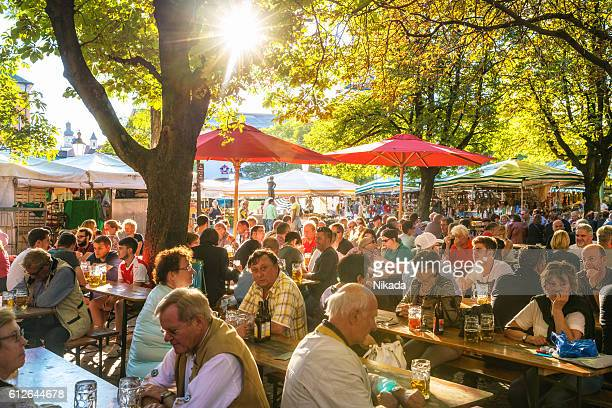 sunny beer garden in Munich, Bavaria, Germany