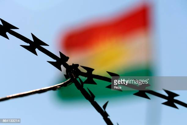 Sunny Checkpoint Regional Government of KurdistanIraq Kurdish flag planted ata Sunny Checkpoint on the main road between the cities of Dohuk and...