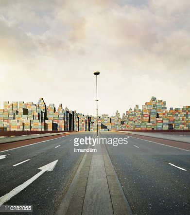 Sunny city of cargo containers : Stock Photo