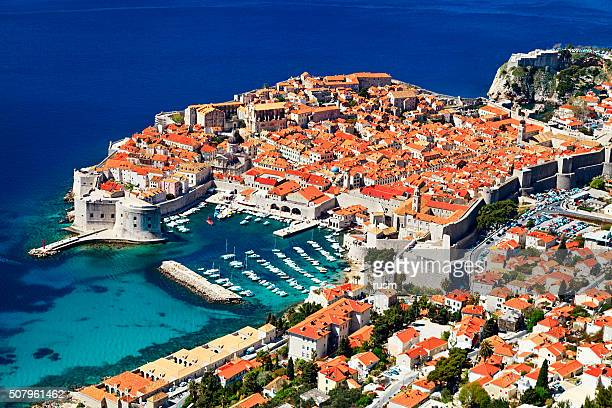 Sunny day aerial view of Old Town Dubrovnik, Croatia.