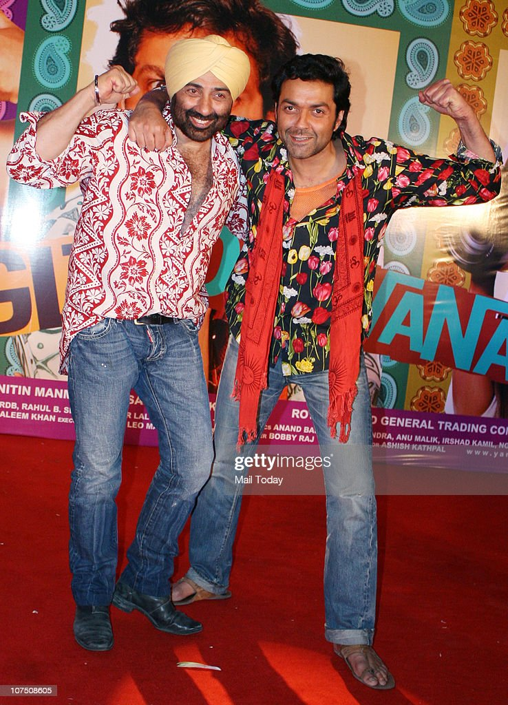 <a gi-track='captionPersonalityLinkClicked' href=/galleries/search?phrase=Sunny+Deol&family=editorial&specificpeople=881473 ng-click='$event.stopPropagation()'>Sunny Deol</a> and Bobby Deol during the music release of Dharmendra's home production film Yamla Pagla Deewana in Mumbai on Thursday night.