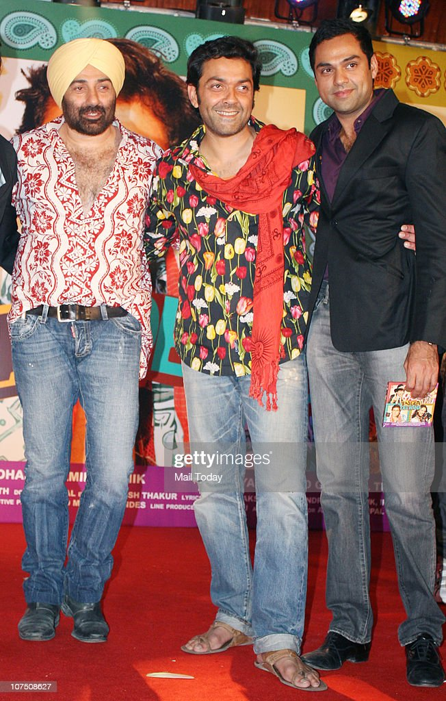 <a gi-track='captionPersonalityLinkClicked' href=/galleries/search?phrase=Sunny+Deol&family=editorial&specificpeople=881473 ng-click='$event.stopPropagation()'>Sunny Deol</a> , Bobby Deol and <a gi-track='captionPersonalityLinkClicked' href=/galleries/search?phrase=Abhay+Deol&family=editorial&specificpeople=5377911 ng-click='$event.stopPropagation()'>Abhay Deol</a> during the music release of Dharmendra's home production film Yamla Pagla Deewana in Mumbai on Thursday night.