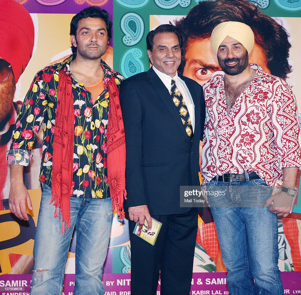 <a gi-track='captionPersonalityLinkClicked' href=/galleries/search?phrase=Sunny+Deol&family=editorial&specificpeople=881473 ng-click='$event.stopPropagation()'>Sunny Deol</a> , Bobby Deol and Dharmendra during the music release of Dharmendra's home production film Yamla Pagla Deewana in Mumbai on Thursday night.
