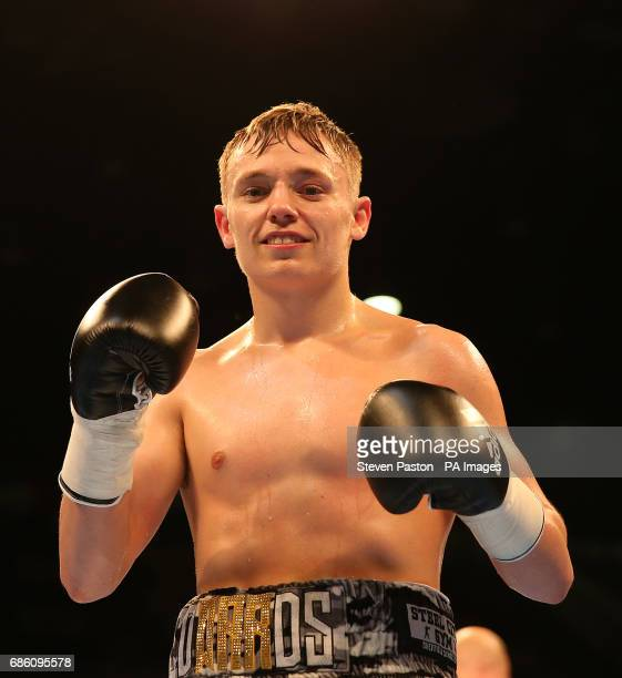 Sunny Edwards celebrates winning against Gyula Dodu in the Flyweight Contest at The Copper Box London PRESS ASSOCIATION Photo Picture date Saturday...