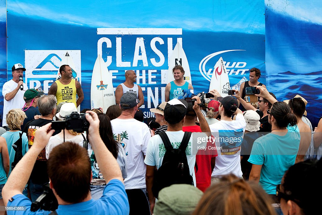 Sunny Garcia and Kaipo Jaquais, both of Hawaii, stand with fellow Battle of The Legends competitors Mark 'Occy' Occhilupo of Australia and Tom Curren of the United States prior the first of two heats during the REEF Hawaiian Pro on November 16, 2012 in Haleiwa, Hawaii.