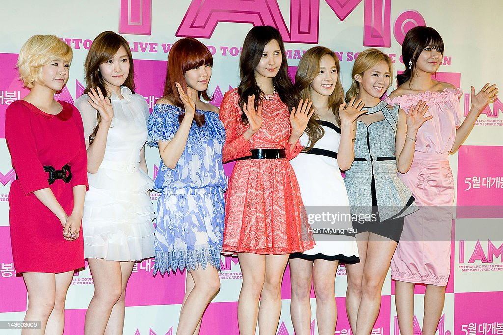 Sunny, Jessica, Tiffany, Seohyun, Taeyeon, Hyoyeon and Sooyoung of South Korean K-Pop girl group Girls' Generation attend a showcase to promote 'I AM.' at CGV on April 30, 2012 in Seoul, South Korea. The documentary movie will open on May in South Korea.