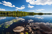 Sunny calm lake landscape from finland