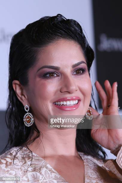 Sunny Leone poses for pictures at the event to announce her as the ambassador of jewelsoukcom at Four seasons Hotel on April 18 2017 in Mumbai India