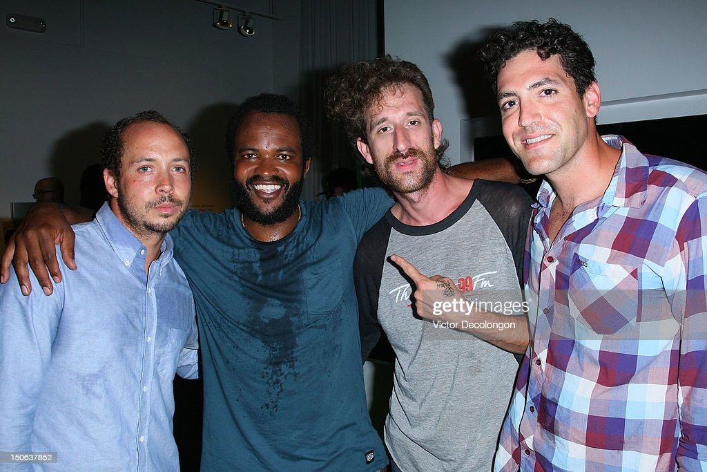 Sunny Levine, Selema Masakela, Beardo and Mark Goodfeather of Alekesam look on after performing at the screening of 'Alekesam' at Sonos Studio on August 22, 2012 in Los Angeles, California.