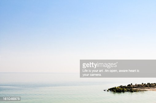 Sunny morning on the shore of the sea