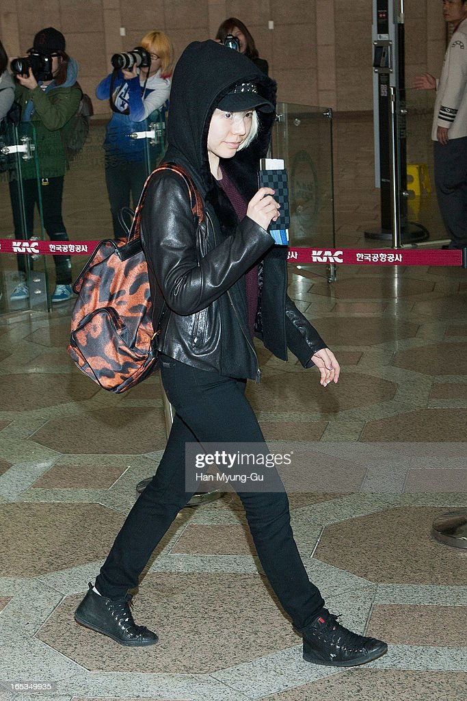 Sunny of South Korean girl group Girls' Generation is seen on departure to Japan at Gimpo International Airport on April 3, 2013 in Seoul, South Korea.